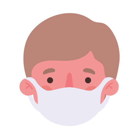 man head with mask design of medical care and covid 19 virus theme Vector illustration Vettoriali