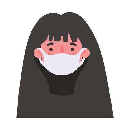 woman head with mask design of medical care and covid 19 virus theme Vector illustration