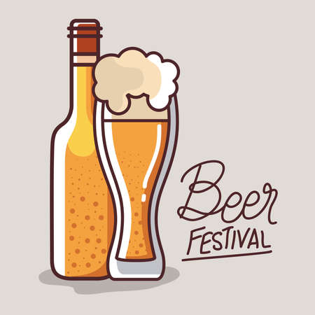 Beer glass and bottle design, Festival day pub alcohol bar and drink theme Vector illustration