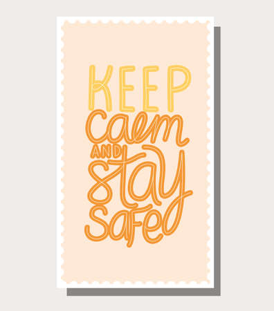 keep calm and stay safe lettering design of Happiness positivity and covid 19 virus theme Vector illustration