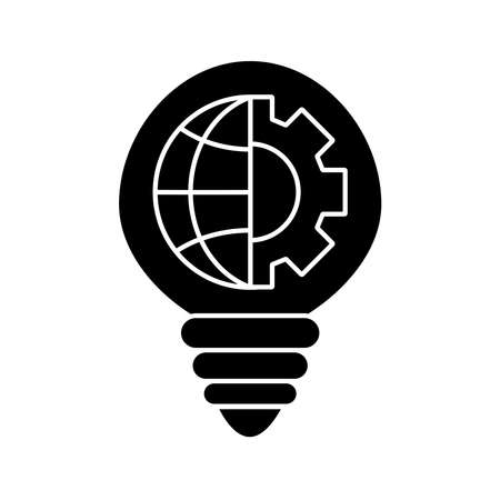 light bulb with gear and global sphere silhouette style icon design, Innovation idea and creativity theme Vector illustration