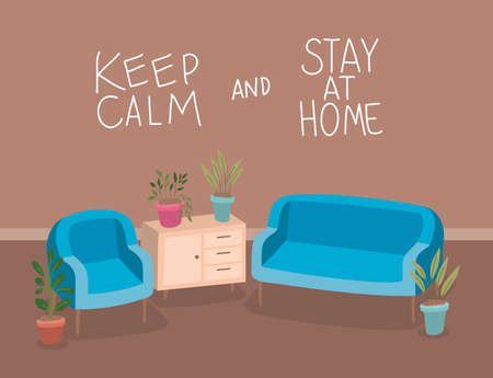 Chairs furniture and plants inside pots design of Stay at home and quarantine theme Vector illustration Vectores