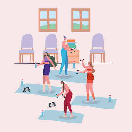 Women cartoons doing exercise design of Stay at home and activities theme Vector illustration