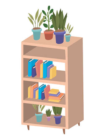 Wood furniture with books and plants inside pots design, Home room decoration interior modern house decor living and apartment theme Vector illustration