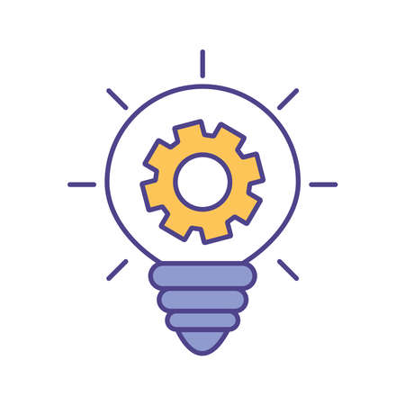 light bulb with gear line and fill style icon design, Innovation idea and creativity theme Vector illustration
