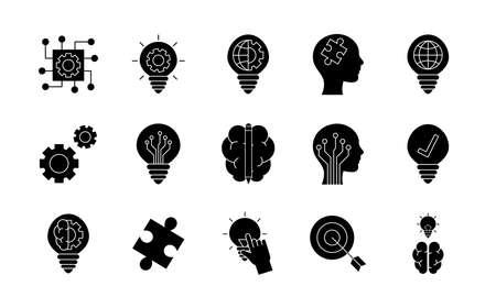 silhouette style icon set design, Innovation idea and creativity theme Vector illustration