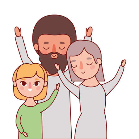 Mother father and daughter design, Family relationship and generation theme Vector illustration