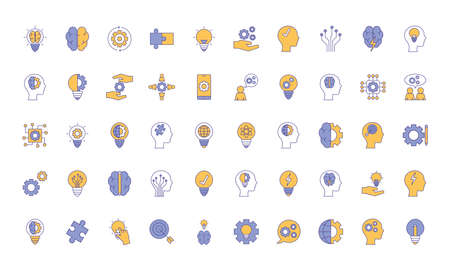 line and fill style icon set design, Innovation idea and creativity theme Vector illustration