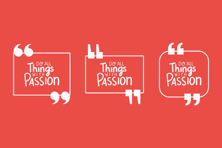 do all things with passion bubbles set design of Quote phrase text and positivity theme Vector illustration Ilustração