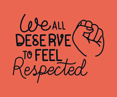 We all deserve to feel safe text with fist design of Black lives matter theme Vector illustration 일러스트