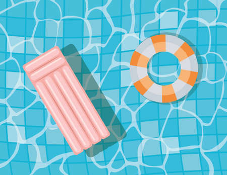 pool with floats top view design, Summer vacation and tropical theme Vector illustration