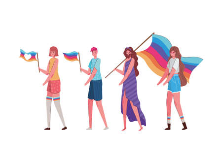 Women and man cartoons with costumes and lgtbi flags design, Pride day love sexual orientation and identity theme Vector illustration
