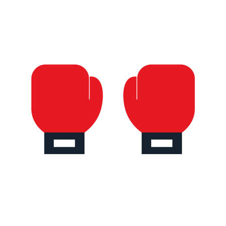 boxing gloves flat style icon design, Sport hobby competition and game theme Vector illustration Ilustração