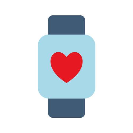 smartwatch flat style icon design, Digital technology communication social media internet web and device theme Vector illustration