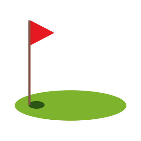 golf flag flat style icon design, Sport hobby competition and game theme Vector illustration