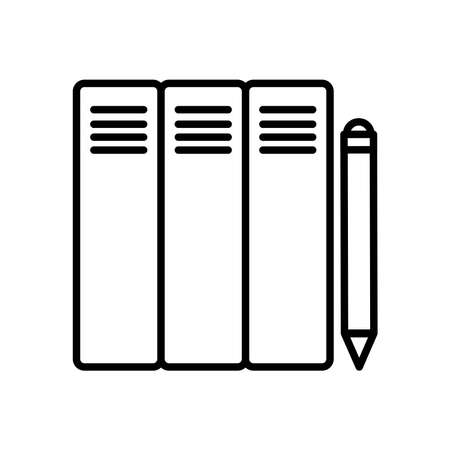 Files and pencil line style icon design, Document data archive storage organize business office and information theme Vector illustration
