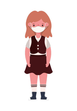 Girl kid with uniform medical mask design, Back to school and social distancing theme Vector illustration
