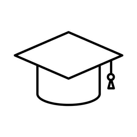 Graduation cap line style icon design, University education school college academic ceremony degree and student theme Vector illustration