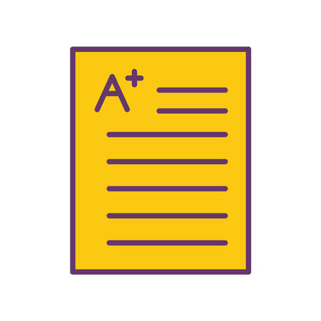 School exam with note line and fill style icon design, education class lesson knowledge preschooler study learning classroom and primary theme Vector illustration