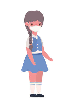 Girl kid with medical mask and uniform design, Back to school theme Vector illustration