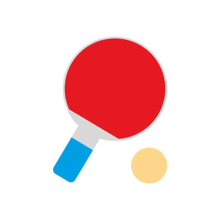 tennis table racket and ball flat style icon design, Sport hobby competition and game theme Vector illustration Illustration