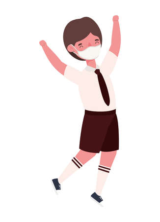 Boy kid with uniform medical mask jumping design, Back to school and social distancing theme Vector illustration