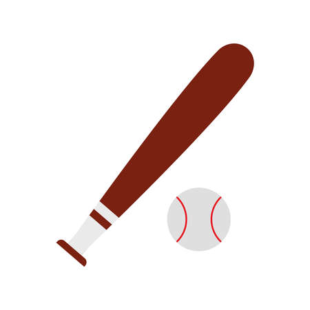 ball and bat of baseball flat style icon design, Sport hobby competition and game theme Vector illustration Ilustração