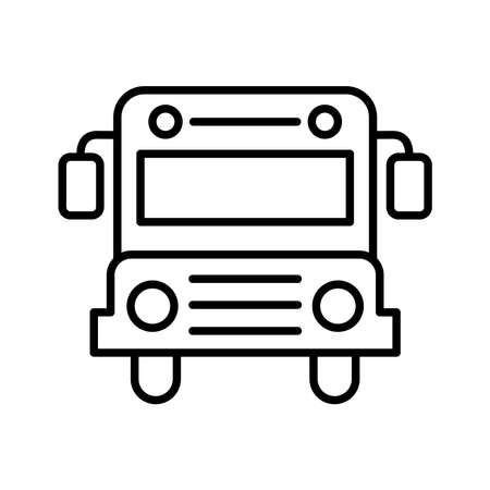 School bus line style icon design, education class lesson knowledge preschooler study learning classroom and primary theme Vector illustration