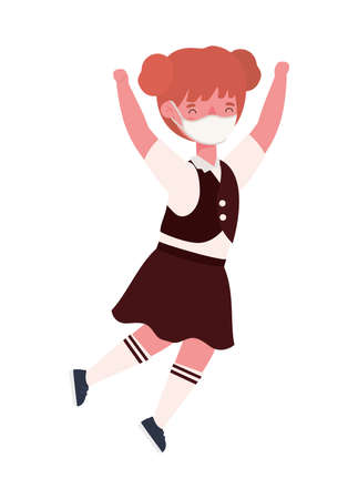 Girl kid with uniform medical mask jumping design, Back to school and social distancing theme Vector illustration 向量圖像