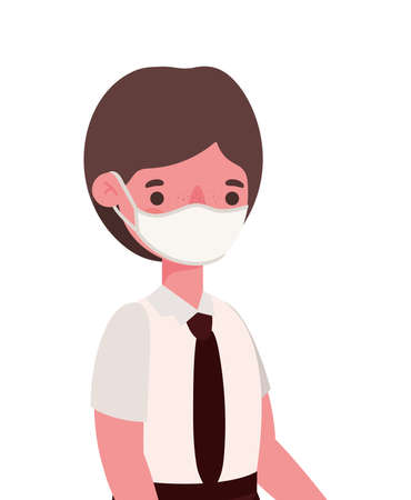 Boy kid with medical mask and uniform design, Back to school theme Vector illustration