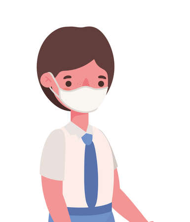Boy kid with uniform medical mask design, Back to school and social distancing theme Vector illustration