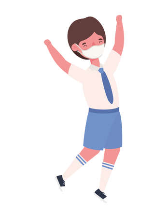 Boy kid with medical mask and uniform jumping design, Back to school theme Vector illustration 向量圖像