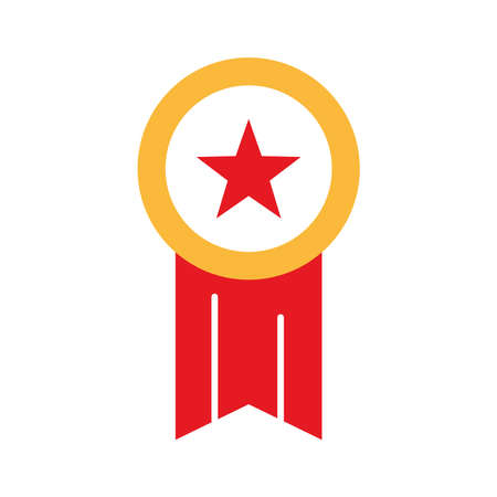 Medal with star flat style icon design, Winner first competition success and sport theme Vector illustration Ilustração