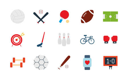 flat style icon set design, Sport hobby competition and game theme Vector illustration Vectores