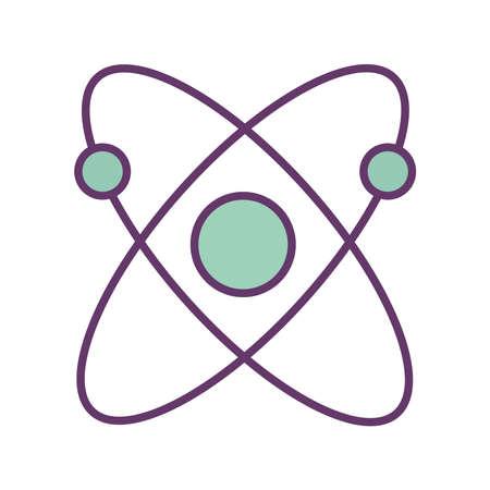 Atom line and fill style icon design, science chemistry and molecular theme Vector illustration Illusztráció