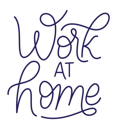 work at home text design of Happiness positivity and covid 19 virus theme Vector illustration Vectores