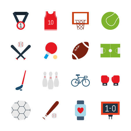 flat style icon set design, Sport hobby competition and game theme Vector illustration Векторная Иллюстрация