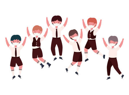 Boys kids with uniforms medical masks jumping design, Back to school and social distancing theme Vector illustration