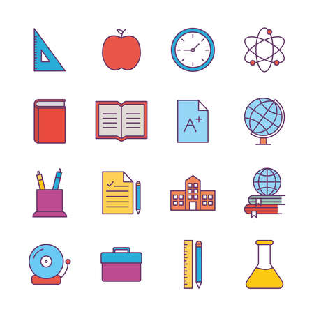 School line and fill style icon set design, education class lesson knowledge preschooler study learning classroom and primary theme Vector illustration