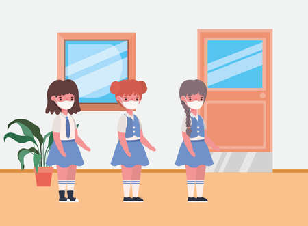 Girls kids with masks in classroom design, Back to school theme Vector illustration