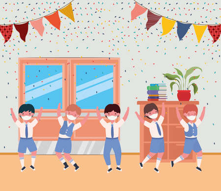 Boys kids with masks in classroom design, Back to school theme Vector illustration