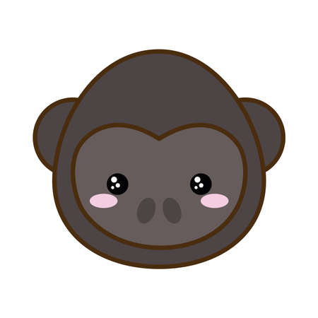 Cute monkey cartoon line and fill style icon design, animal zoo life nature and character theme Vector illustration Vectores