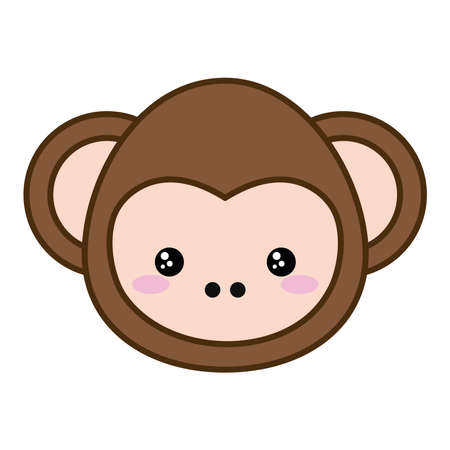 Cute monkey cartoon line and fill style icon design,  animal zoo life nature and character theme Vector illustration