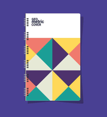geometric cover notebook design of Mockup corporate identity template and branding theme Vector illustration 일러스트