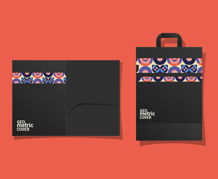 geometric cover file and bag design of Mockup corporate identity template and branding theme Vector illustration