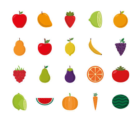 flat style icon set design, Fruits healthy organic food sweet and nature theme Vector illustration