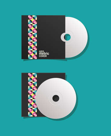 geometric cover cds design of Mockup corporate identity template and branding theme Vector illustration