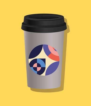 geometric cover coffee mug design of Mockup corporate identity template and branding theme Vector illustration
