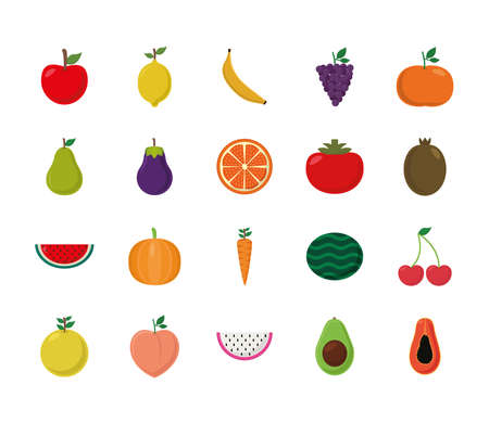 flat style icon set design, Fruits healthy organic food sweet and nature theme Vector illustration Vecteurs