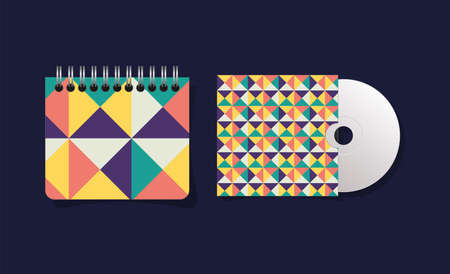 geometric cover notebook and cd design of Mockup corporate identity template and branding theme Vector illustration
